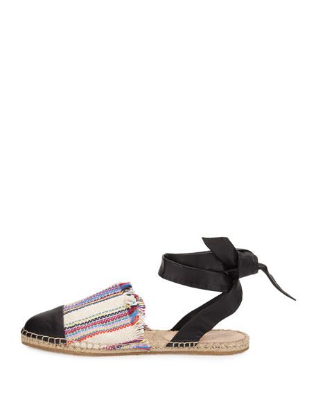 Heloise Striped Ankle-Wrap Espadrille Flat, Multi