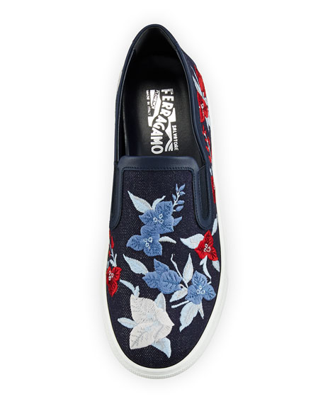 Egla Embroidered Denim Sneaker, Indigo