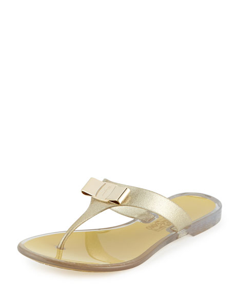 Salvatore Ferragamo Bow Flat Jelly Thong Sandal, Bronze