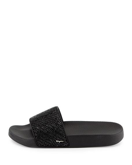 Crystal Slide Sandals, Black