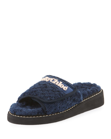 Flat Terry Cloth Sandal Slide