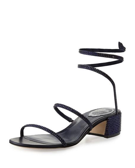 Rene Caovilla Crystal Snake 40mm Sandal, Blue
