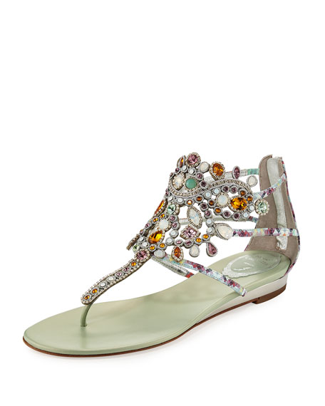 Rene Caovilla Crystal-Chandelier Thong Sandal, Multi