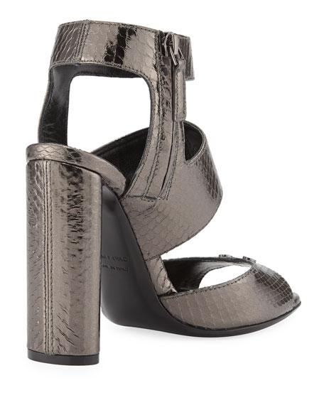 Rivet Snakeskin 105mm Sandal, Gray