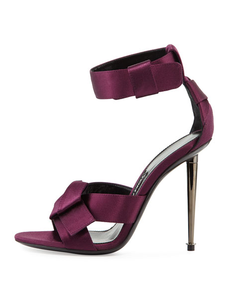 Bow Satin Ankle-Strap 105mm Sandals, Purple