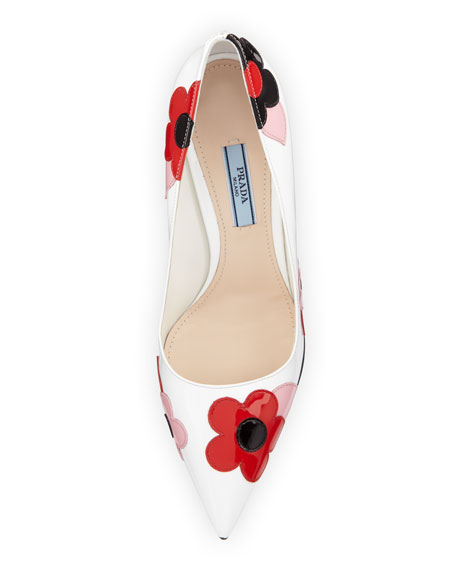 Floral-Appliqué Pointed-Toe 85mm Pump, White/Lacquer (Bianco/Lacca)