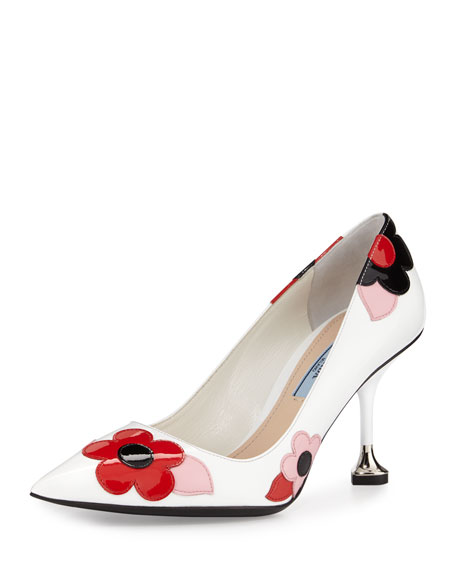 Prada Floral-Appliqué Pointed-Toe 85mm Pump, White/Lacquer