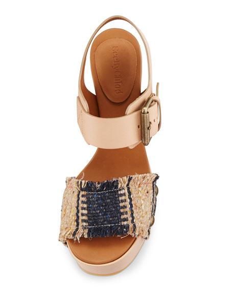 Maya Tapestry Platform Sandal, Beige