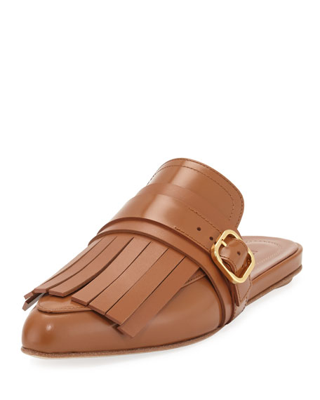 Leather Fringe Flat Kiltie Mule, Toast