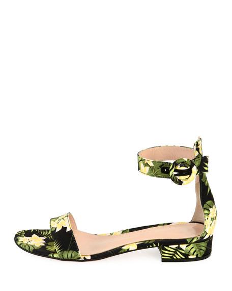 Lola Flat Floral Ankle-Wrap Sandal, Yellow
