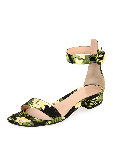Gianvito Rossi Lola Flat Floral Ankle-Wrap Sandal, Yellow