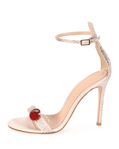 Cherry Portofino Ankle-Wrap 105mm Sandal, Pink