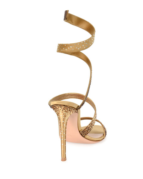 Opera Ankle-Wrap 105mm Sandals, Gold
