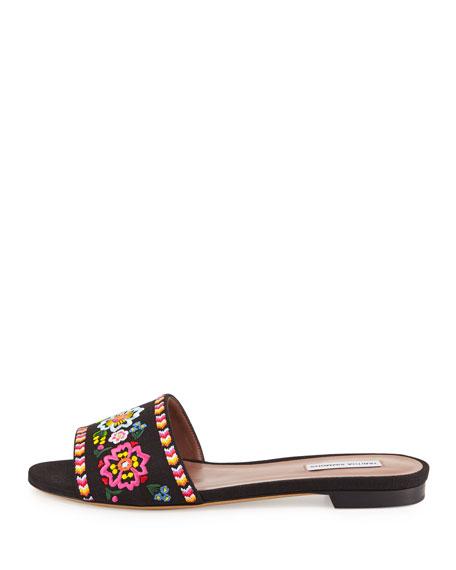 Sprinkles Embroidered Slide Sandal, Black