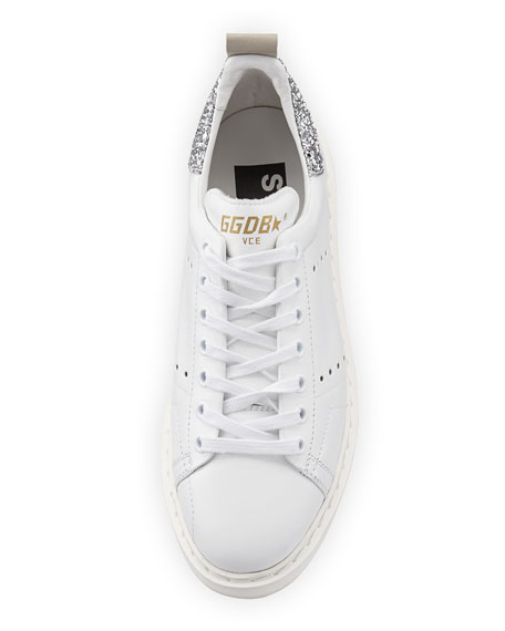 Starter Leather Low-Top Sneaker, White/Silver