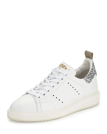 Golden Goose Starter Leather Low-Top Sneaker, White/Silver