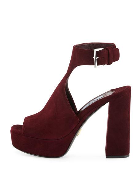 Suede Ankle-Wrap Sandal, Garnet (Granato)