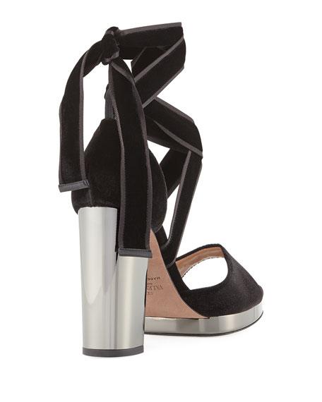 Ballet Fever Velvet Ankle-Wrap Sandal
