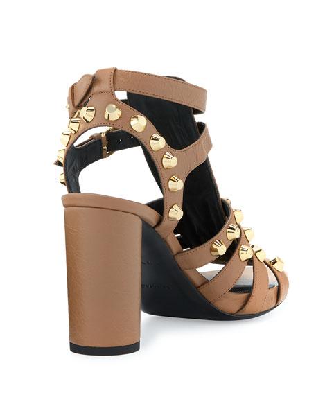 Studded Chunky-Heel Cage Sandal
