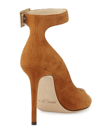 Henna Leather Open-Toe Ankle-Wrap Pump