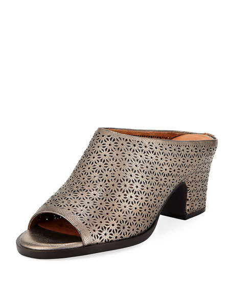 Gentle Souls Post Laser-Cut Low-Heel Mule
