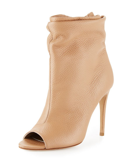 Burlison Scrunched Leather Bootie, Camel