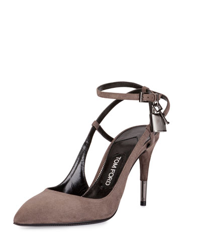 56a48c203e TOM FORD Suede Ankle-Lock 85mm Pump, Graphite