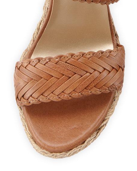 Elixir Braided Leather Wedge Sandal, Adobe
