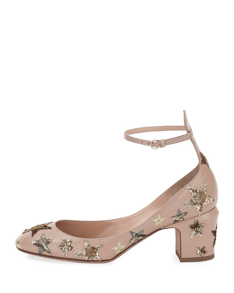 Star-Studded Low-Heel Ankle-Strap Pump