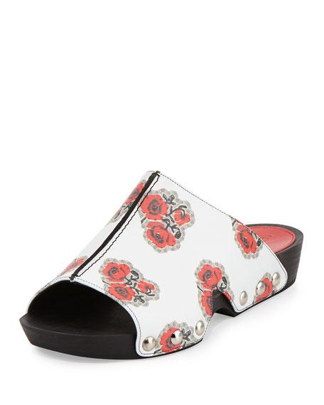 Alexander McQueen Rose-Print Leather Mule Sandal, Ivory/Multi