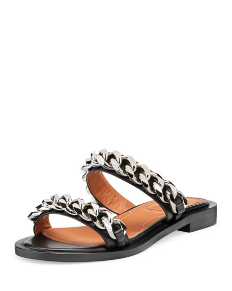 Givenchy Double-Chain Flat Sandal, Black