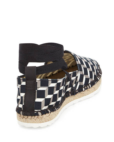 Cube-Print Ankle-Wrap Espadrille Flat, Black