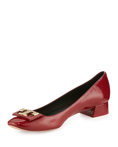 Gigi Logo Low-Heel Pump, Redstone