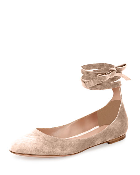 Gianvito Rossi Suede Lace-Up Flats