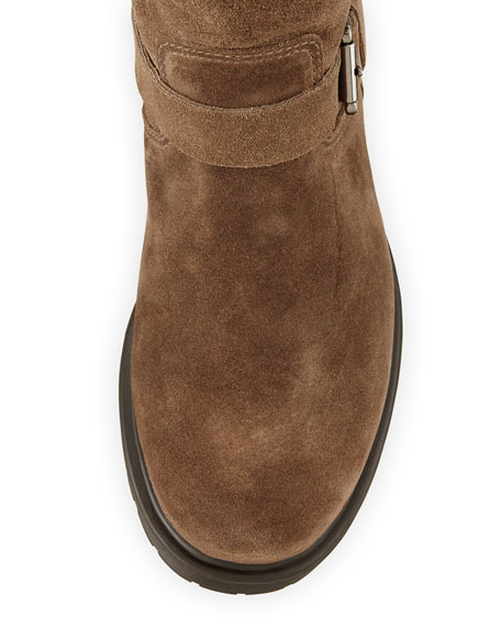 Hayes Fur-Lined Buckled Mid-Calf Boot, Stone