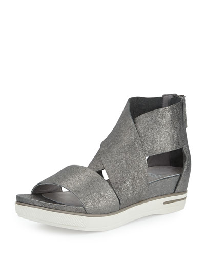 Sport Leather Sneaker Sandal, Pewter