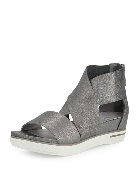 Eileen Fisher Sport Leather Sneaker Sandal, Pewter