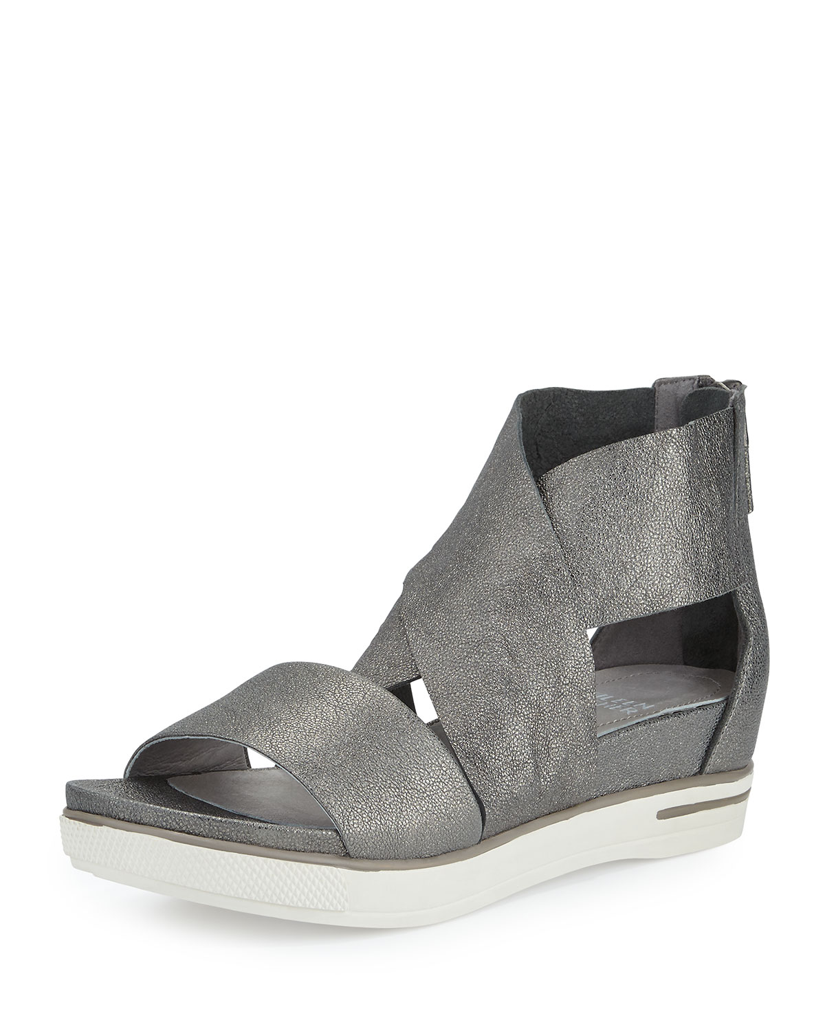 fe795ce6df Eileen Fisher Sport Leather Sneaker Sandal, Pewter | Neiman Marcus