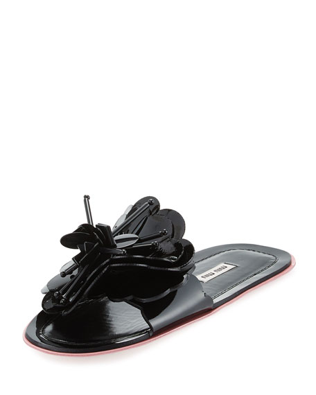 Miu Miu Runway Flower Flat Slide Sandals Black Rose