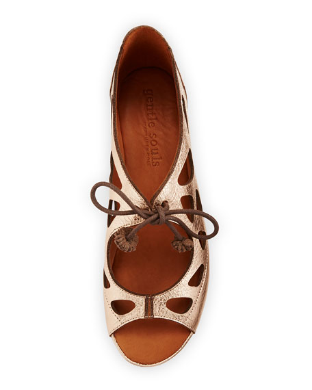 Brynn Leather Lace-Up Sandals, Pink