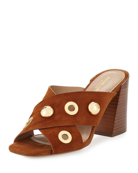 Brianna Studded Suede Mule, Dark Luggage