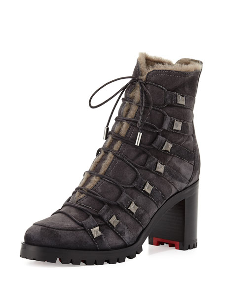 Chaletta Suede Shearling-Lined 70mm Red Sole Bootie, Dark Gray