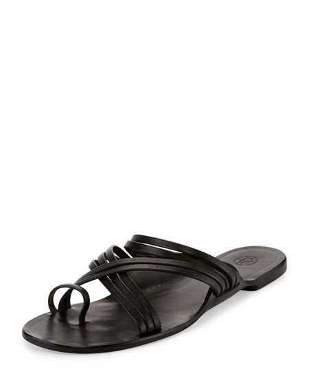 Cannes Strappy Flat Sandals, Black