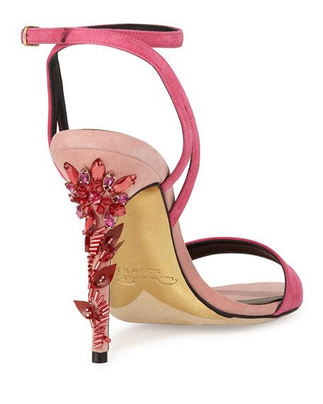 Opina Suede Crystal-Heel Sandal, Rose
