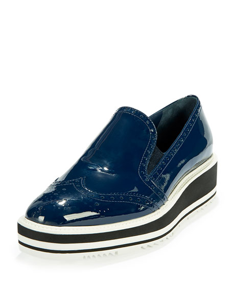 Prada Patent Leather Wing-Tip Loafer, Royal Blue