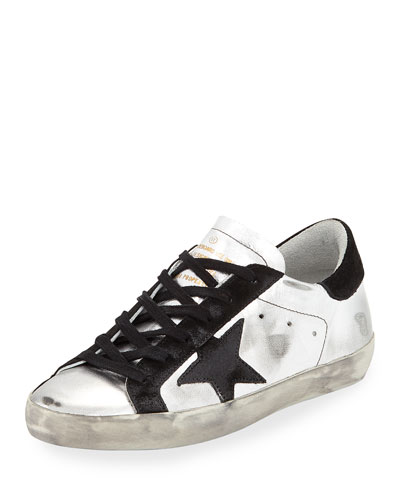 Star-Embellished Leather Sneakers