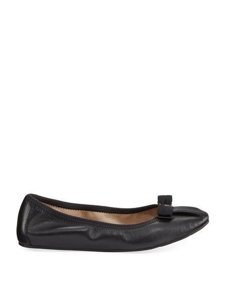 Leather Ballerina Flat, Nero