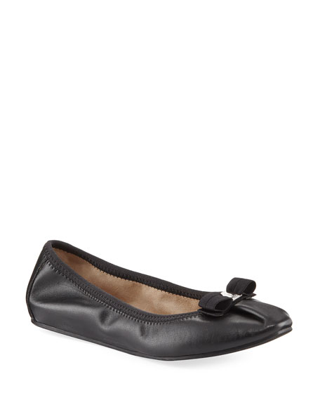 Salvatore Ferragamo Leather Ballerina Flat, Nero