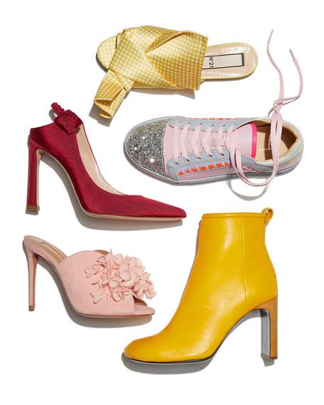 Riko Glitter Cap-Toe Sneakers, Pink