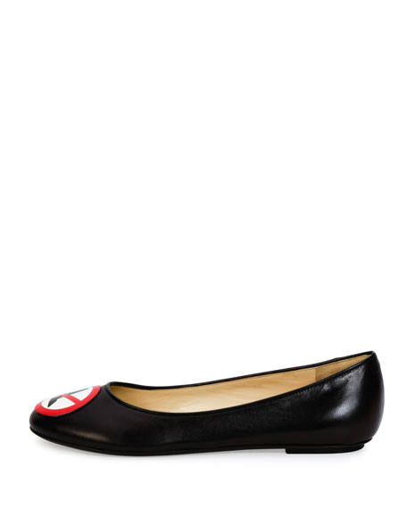 No Heels Leather Ballerina Flat, Black